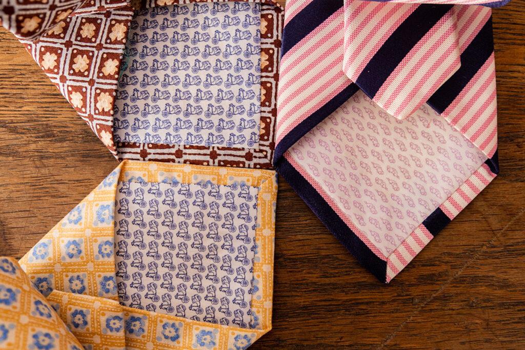 Zoom su punte cravatte estive colorate con fodere interne in cotone estive