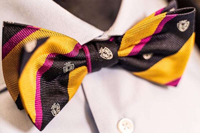 Papillon seta a righe oro, nero e fucsia modello Club con stemmi